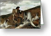 Shoulder Painting Greeting Cards - The Hunter and his Dogs Greeting Card by Winslow Homer