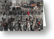 Kathy Jennings Greeting Cards - The Hustle and Bustle Of The City Greeting Card by Kathy Jennings