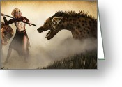 Monster Digital Art Greeting Cards - The Hyaenodons - Allies Battle Greeting Card by Mandem  