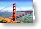 Steel Construction Greeting Cards - The Iconic San Francisco Golden Gate Bridge . 7D14507 Greeting Card by Wingsdomain Art and Photography