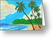 Island Artist Pastels Greeting Cards - The Idyllic Beach Greeting Card by William Depaula