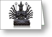 Square Sculpture Greeting Cards - The images of Guanyin black Greeting Card by Tosporn Preede