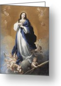Baroque Greeting Cards - The Immaculate Conception  Greeting Card by Bartolome Esteban Murillo