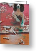 English Springer Spaniel Greeting Cards - The Incident Greeting Card by Anna Bain