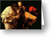 Oil On Canvas Painting Greeting Cards - The Incredulity of Saint Thomas Greeting Card by Caravaggio