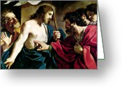 Disbelief Greeting Cards - The Incredulity of Saint Thomas Greeting Card by Guercino