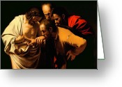 Faith Greeting Cards - The Incredulity of Saint Thomas Greeting Card by Michelangelo Merisi da Caravaggio
