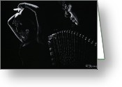 Musicians Pastels Greeting Cards - The Intensity of Flamenco Greeting Card by Richard Young