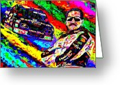 Dale Earnhardt Jr Greeting Cards - The Intimidator Greeting Card by Mike OBrien