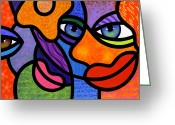 Abstract Bright Color Greeting Cards - The Introduction Greeting Card by Steven Scott