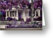 Purple House Greeting Cards - The Invitation Greeting Card by Marcie Adams Eastmans Studio Photography