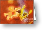 Gold Lame Painting Greeting Cards - The iris flower Greeting Card by Odon Czintos