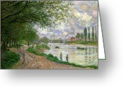 Factories Greeting Cards - The Island of La Grande Jatte Greeting Card by Claude Monet