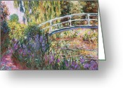 Lilies Greeting Cards - The Japanese Bridge Greeting Card by Claude Monet 