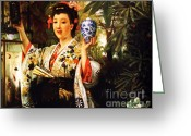 Vases Greeting Cards - The Japanese Vase Greeting Card by Pg Reproductions