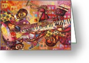Diversity Greeting Cards - The Jazz Dimension  Greeting Card by Larry Poncho Brown
