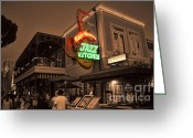 Downtown Disney Greeting Cards - The Jazz Kitchen in Sepia Greeting Card by Tommy Anderson