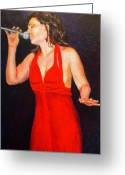 Red Woman Greeting Cards - The Jazz Singer Greeting Card by Michael Durst