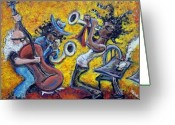 Sax Greeting Cards - The Jazz Trio Greeting Card by Jason Gluskin