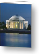 Portico Greeting Cards - The Jefferson Memorial Greeting Card by Peter Newark American Pictures