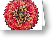 Saw Blades Greeting Cards - The Jessie-Rose Clock Blossom Greeting Card by Jessica Sornson