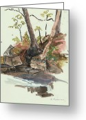 Pen And Ink Drawing Drawings Greeting Cards - The Jessup Indian Lake NY Greeting Card by Ethel Vrana