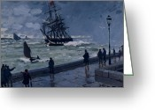 Quay Greeting Cards - The Jetty at Le Havre in Bad Weather Greeting Card by Claude Monet