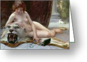 Lion Painting Greeting Cards - The Jewel Case Greeting Card by Guillaume Seignac