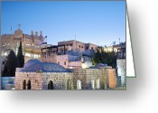 Star Of David Greeting Cards - The Jewish Quarter in Jerusalem Greeting Card by Noam Armonn