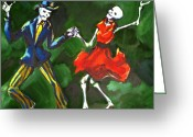 Calaveras Greeting Cards - The Jive Greeting Card by Sharon Sieben
