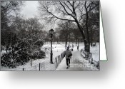 Jogging Greeting Cards - the jogger in New York Greeting Card by Joe Scoppa