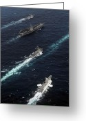 Guided Missile Destroyers Greeting Cards - The John C. Stennis Carrier Strike Greeting Card by Stocktrek Images