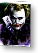 Purple Greeting Cards - The Joker Greeting Card by Lin Petershagen