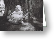 White Greeting Cards - The Jolly Buddha Greeting Card by Lynn-Marie Gildersleeve