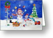 Ornaments Painting Greeting Cards - The Juggler Greeting Card by Suzy Pal Powell