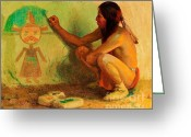  Tribal Prints Greeting Cards - The Kachina Painter Greeting Card by Pg Reproductions