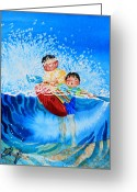 Storybook Greeting Cards - The Kayak Racer 10 Greeting Card by Hanne Lore Koehler