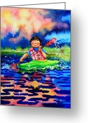 Storybook Greeting Cards - The Kayak Racer 11 Greeting Card by Hanne Lore Koehler