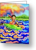 Storybook Greeting Cards - The Kayak Racer 12 Greeting Card by Hanne Lore Koehler