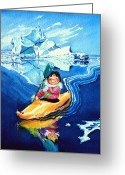 Children Book Illustrator Greeting Cards - The Kayak Racer 13 Greeting Card by Hanne Lore Koehler