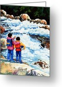 Sports Art Painting Greeting Cards - The Kayak Racer 14 Greeting Card by Hanne Lore Koehler