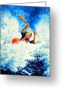 Sports Art Painting Greeting Cards - The Kayak Racer 16 Greeting Card by Hanne Lore Koehler