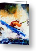 Sports Art Painting Greeting Cards - The Kayak Racer 17 Greeting Card by Hanne Lore Koehler