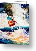 Sports Art Painting Greeting Cards - The Kayak Racer 18 Greeting Card by Hanne Lore Koehler