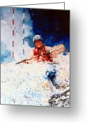 Sports Art Painting Greeting Cards - The Kayak Racer 20 Greeting Card by Hanne Lore Koehler