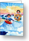 Children Book Illustrator Greeting Cards - The Kayak Racer 4 Greeting Card by Hanne Lore Koehler