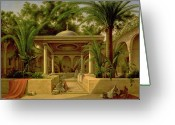 Orientalists Greeting Cards - The Khabanija Fountain in Cairo Greeting Card by Grigory Tchernezov