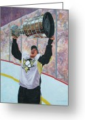 Hockey Painting Greeting Cards - The Kid and the Cup Greeting Card by Allan OMarra