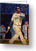 Hall Pastels Greeting Cards - The Kid feat Ken Griffey Jr Greeting Card by D Rogale