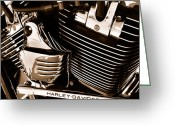 Harley Davidson Art Greeting Cards - The King - Harley Davidson Road King Engine Greeting Card by Steven Milner